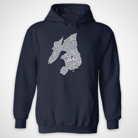 Islay Type Map Hoodie - Navy